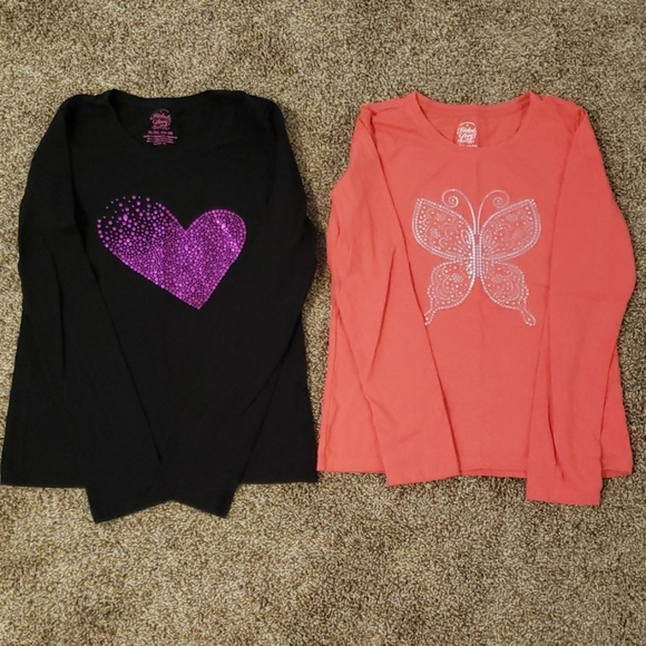 1eefeb6cc429 Faded Glory Shirts & Tops | 420 Girls Long Sleeve Embellished Tshirt ...
